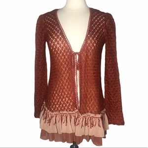 A'reve Skirted Knit Cardigan Sz M